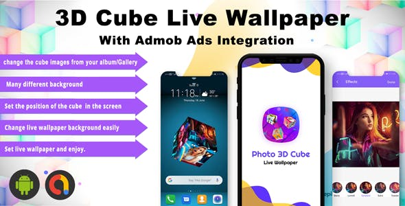 Android 3D Photo Cube Live Wallpaper - With Admob Ads Integrated