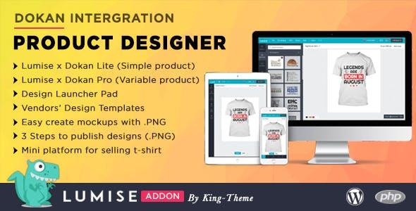 Dokan Integrate & Design Launcher Addon for LUMISE Product Designer