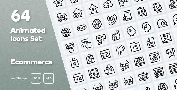 Ecommerce Animated Icons Set - Lottie Json SVG - CodeCanyon Item for Sale