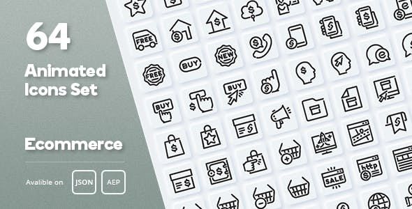 Ecommerce Animated Icons Set - Lottie Json SVG