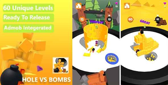 Hole vs Bombs Game - Unity Complete Project With Admob Ads for Android and iOS - CodeCanyon Item for Sale