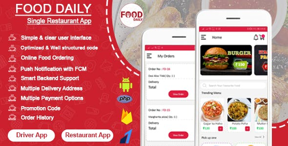 Food Daily - An On Demand Android Food Delivery App, Delivery Boy App and Restaurant App