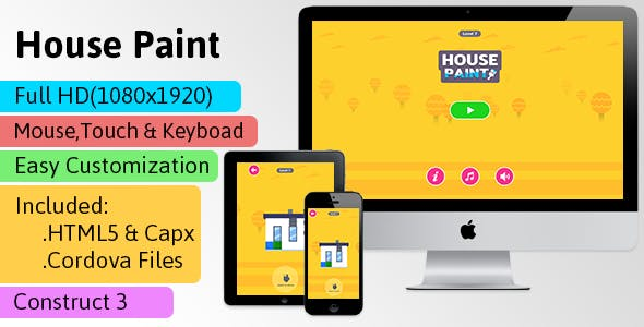 House Paint - HTML5 Game (Construct 3 | C3p) - Puzzle Game str8face