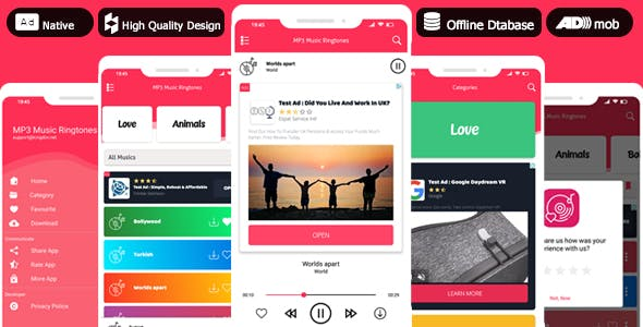 PRO Offline MP3 Musics & Ringtones - Admob Native Ads