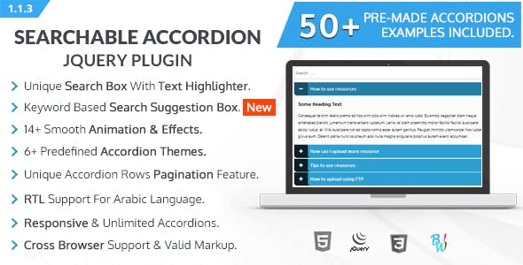 BWL Searchable Accordion jQuery Plugin