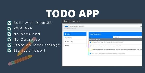 TODO App React JS (Local Storage) - CodeCanyon Item for Sale
