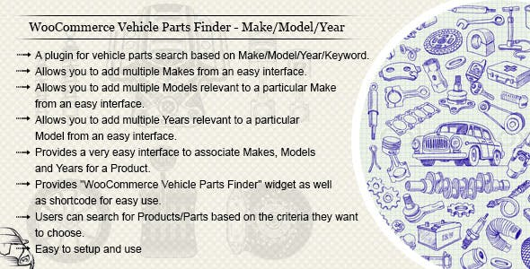 WooCommerce Vehicle Parts Finder - Make/Model/Year