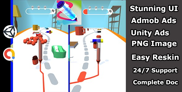 Pen run game Arcade Unity game source code(Admob and Unity ads)