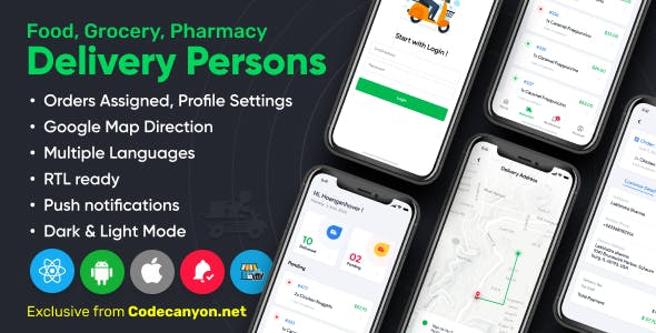 Delivery Person for Food, Grocery, Pharmacy, Stores React Native - Wordpress Woocommerce App