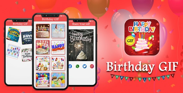 Happy Birthday GIF - Android App + Admob + Facebook Integration - CodeCanyon Item for Sale