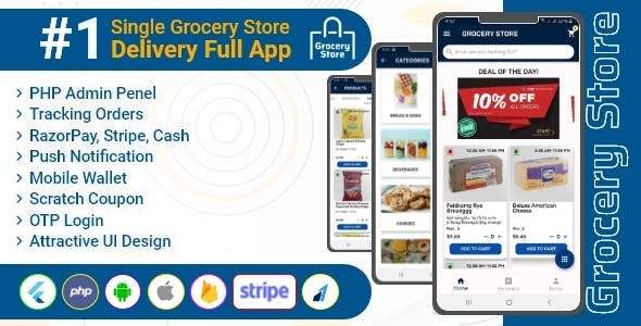 Grocery Store - Flutter Single Vendor Grocery Delivery App with Admin Panel