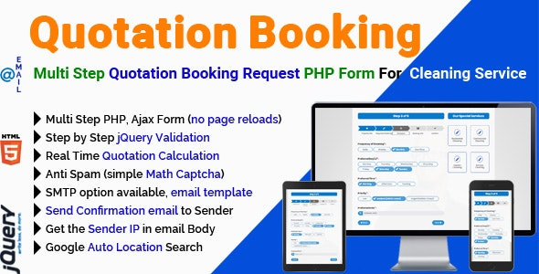 Quotation Booking - Multi Step Quotation Booking Request PHP Form For Cleaning Service - CodeCanyon Item for Sale