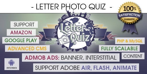 Letter Photo Quiz With CMS & Ads - Android [ 2020 Edition ] - CodeCanyon Item for Sale