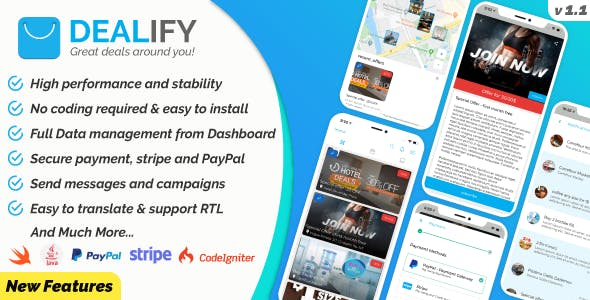 Dealify - Stores, Offers, Deals & Advanced Order System - Native Apps iOS & Android