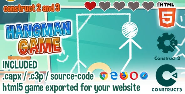 Hangman Game - HTML5 Construct 2 & 3 Game with Source-code