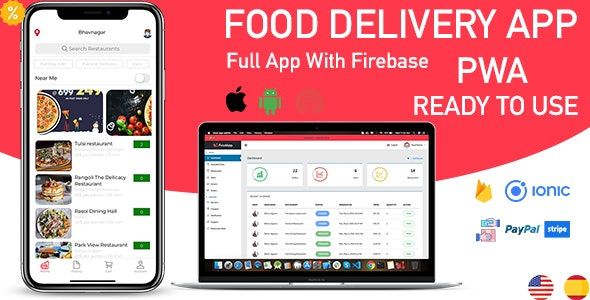 ionic 5 food delivery full (Android + iOS + Admin Panel PWA) app with firebase - CodeCanyon Item for Sale
