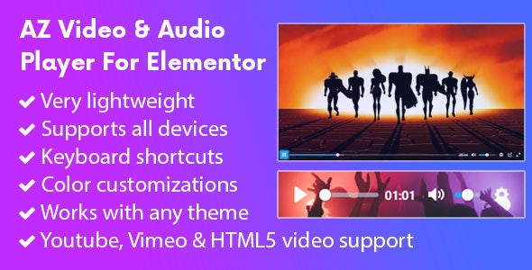 AZ Video and Audio Player Addon for Elementor - CodeCanyon Item for Sale