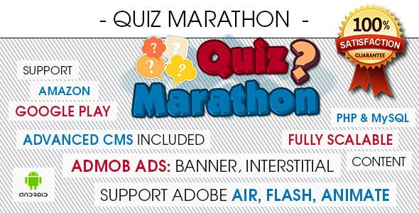 Quiz Marathon Trivia With CMS & Ads - Android [ 2020 Edition ]