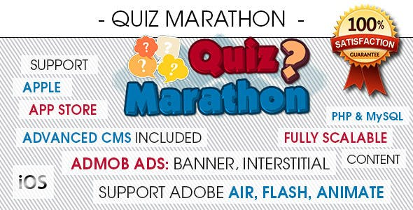 Quiz Marathon Trivia With CMS & Ads - iOS [ 2020 Edition ]