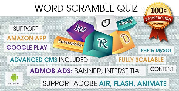 Word Scramble Quiz With CMS & Ads - Android [ 2020 Edition ]