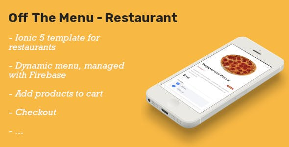 Off The Menu Restaurant - Ionic 5 template food ordering / Firebase backend