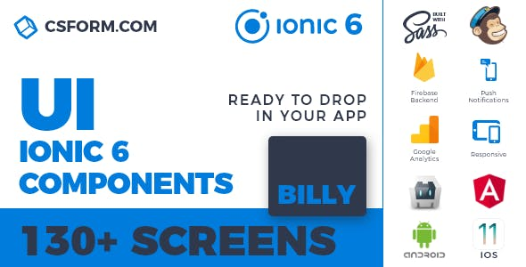 Billy | Ionic 6 / Angular 9 UI Theme / Template App | Multipurpose Starter App