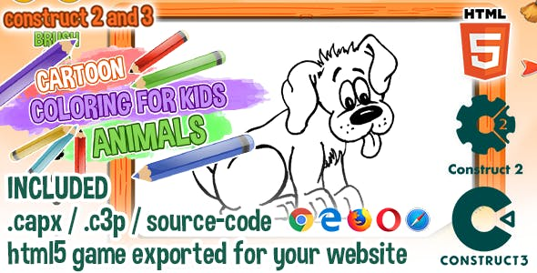 Cartoon Coloring for Kids - Animals - HTML5 Construct 2 & 3 Game with Source-code