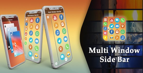 Multi Window - Side Bar : Split Screen - Android App + Admob + Facebook Integration