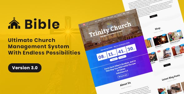 Bible - Church Management System With Shop, Donation, Sermon, Blog, Event, Role, Attendance & More