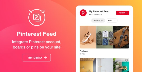 Pinterest Feed - WordPress Pinterest plugin - CodeCanyon Item for Sale