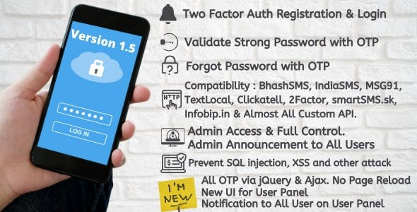 Two Factor Auth Registration and Login OTP with jQuery and Ajax
