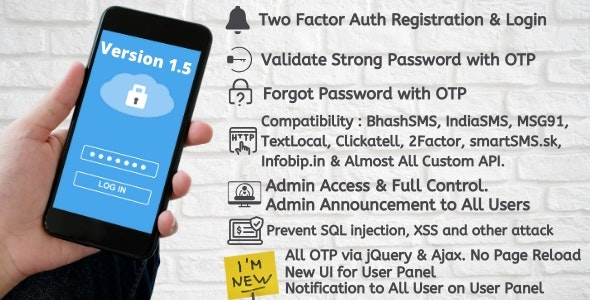 Two Factor Auth Registration and Login OTP with jQuery and Ajax - CodeCanyon Item for Sale