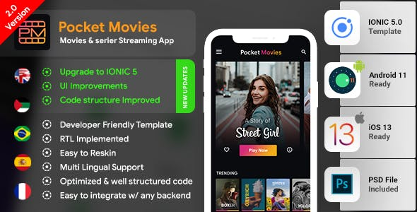 Online Video Streaming and Movies Android App + Movies iOS App Template| Video streaming App|IONIC 5