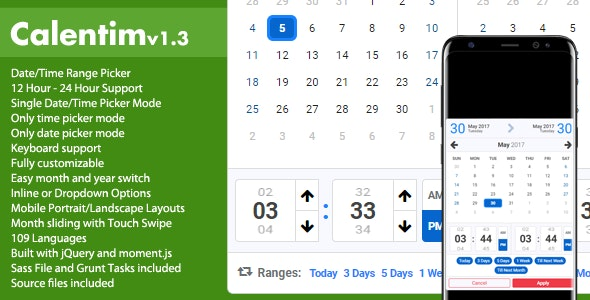 Calentim - Date Time Range Picker - CodeCanyon Item for Sale