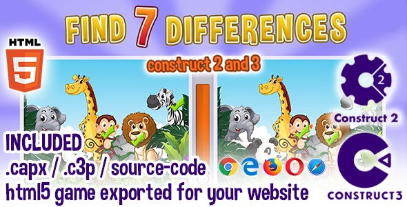 Find Seven Differences - Animals - HTML5 Construct 2 & 3 Game with Source Code - CodeCanyon Item for Sale