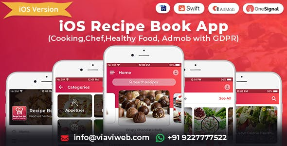 iOS Recipe Book App (Cooking,Chef,Healthy Food, Admob with GDPR)