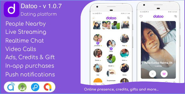 Datoo - Dating platform with Live Steaming and Video calls + Admin Panel - CodeCanyon Item for Sale