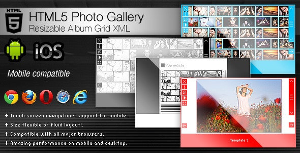 HTML5 Photo Gallery - Resizable Album Grid XML - CodeCanyon Item for Sale