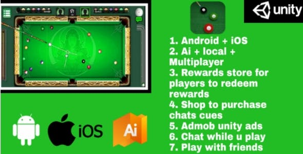 Billiards Multiplayer – 8 Ball Pool (With AI and reward store) Android + IOS