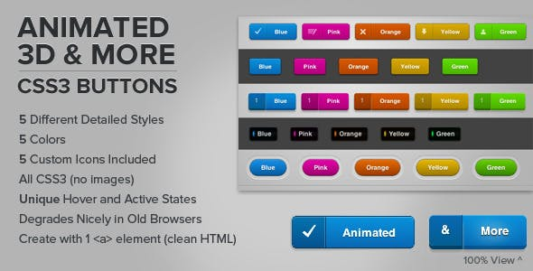 Modern CSS Buttons from CodeCanyon