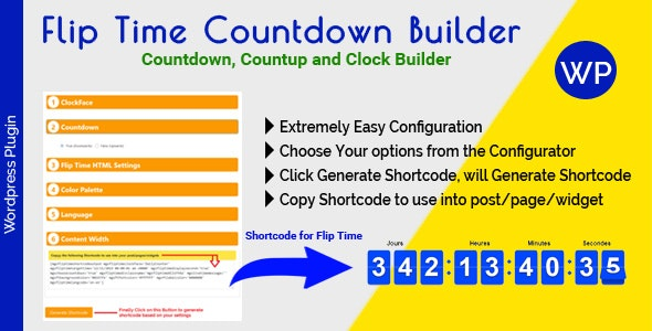 Flip Time Countdown Builder - Responsive Countdown Countup and Clock Builder for WordPress - CodeCanyon Item for Sale