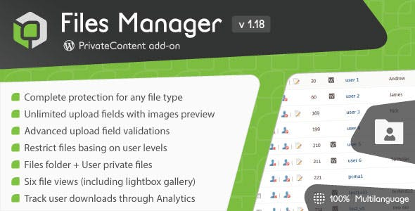 PrivateContent - Files Manager add-on