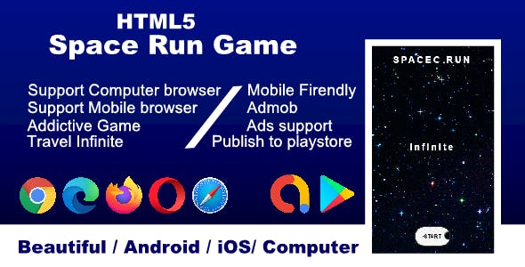 HTML5 Space run game, support all browser and mobile friendly Android & iOS
