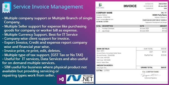 SIM - Service Invoice Management - CodeCanyon Item for Sale