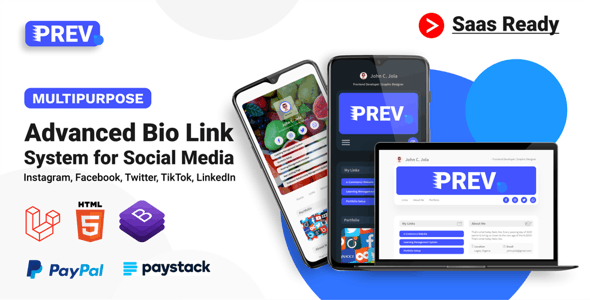 Prev - Multi User Extended Social Profile For Instagram, Twitter, Facebook, TikTok (SaaS) - CodeCanyon Item for Sale