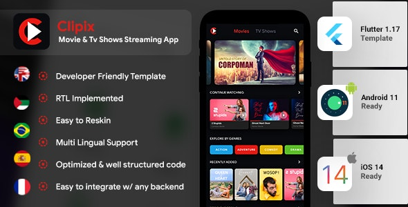 Movies Series Video Streaming Android + Video Streaming iOS App Template| Flutter 2 | Clipix - CodeCanyon Item for Sale