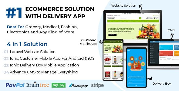 Best Ecommerce Solution with Delivery App For Grocery, Food, Pharmacy, Any Stores / Laravel + IONIC5