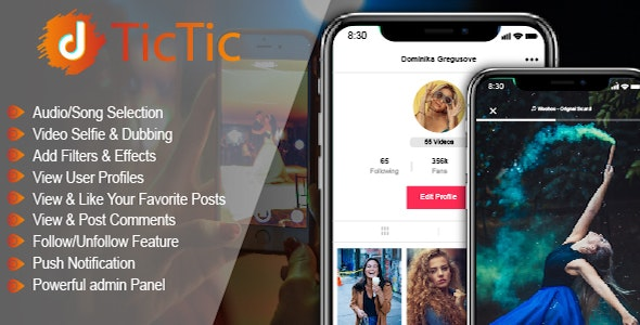 TicTic - IOS media app for creating and sharing short videos - CodeCanyon Item for Sale