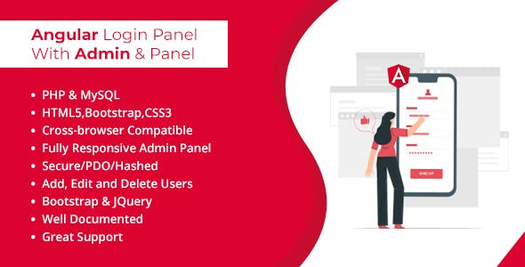Angular Login Panel with Admin and User