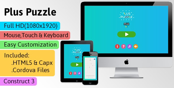 Plus Puzzle - HTML5 Game (Construct 3 | C3p) - Puzzle Game Str8face - CodeCanyon Item for Sale